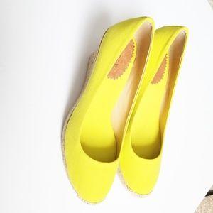 J Crew Neon Yellow Espadrille Wedge Size 9